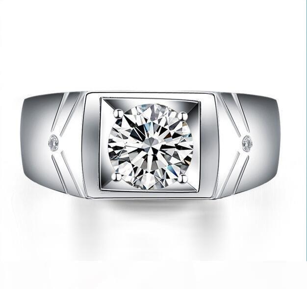 1,25 CT Круглый Halo Set Мужчины обручальное кольцо Серебро 925 Кольца для мужчин 18K позолоченный канала Cz бриллиантовое кольцо Человек