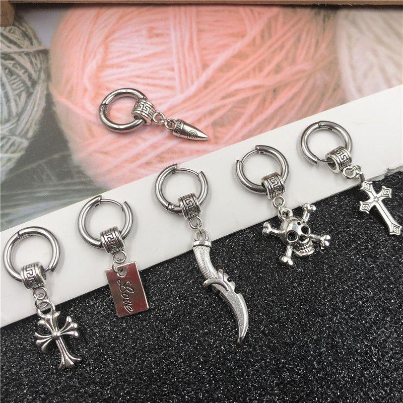 orecchini in stile coreano Forma Orecchini pendenti alla moda unico ciondolo negozio personalizzato croce cerchio accessori maschili studente 2 yuan MUpFw