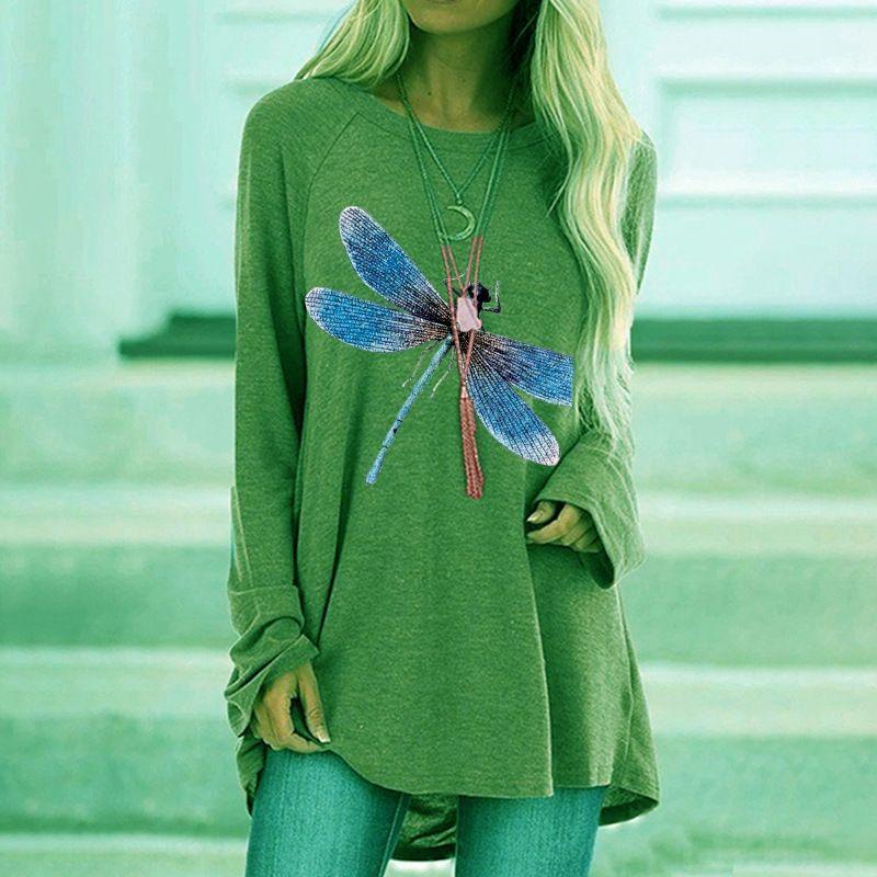 ODKUs 6K5wh Outono Nova impressa T-shirt azul manga solta em torno do pescoço longo da libélula T-shirt para senhoras