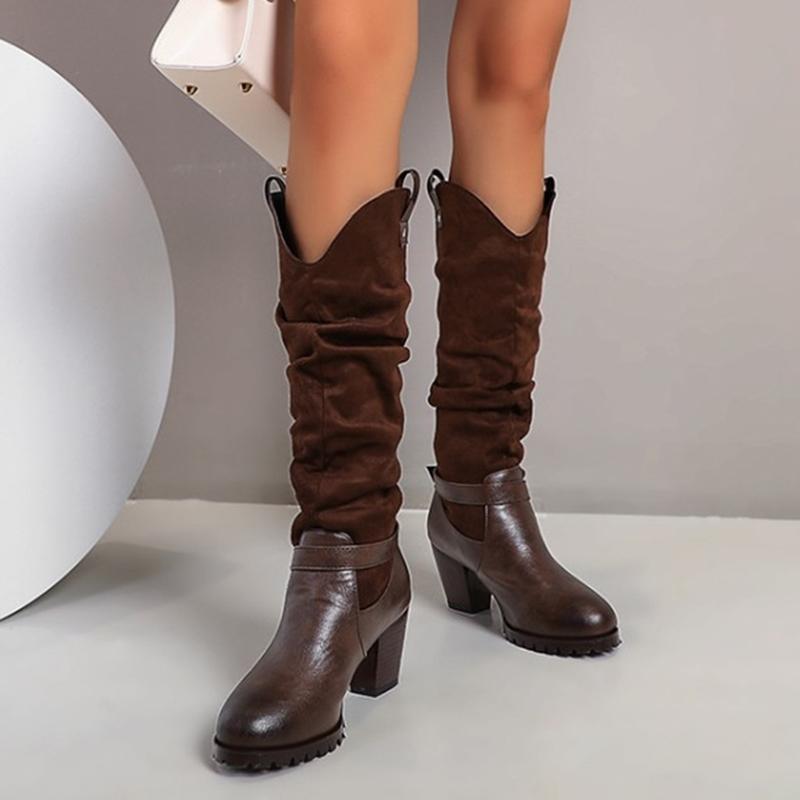 2020 Inverno donne PU superiore della fibbia punta rotonda sotto ginocchio Stivali tacco grosso Stivali