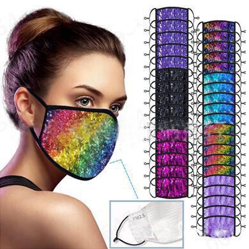 Маски блестки Мода Bling Bling лица дышащий пыле маска для лица Радуга цвета Блестящий Face Cover Design Регулируемая Mouth маска DHD1346