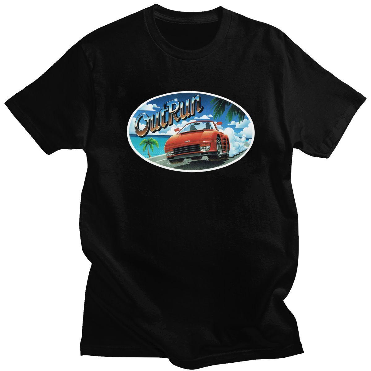 80s unici Out Run T shirt da uomo breve estate manica Retro Gaming Arcade Outrun maglietta puro cotone Tee Merchandise