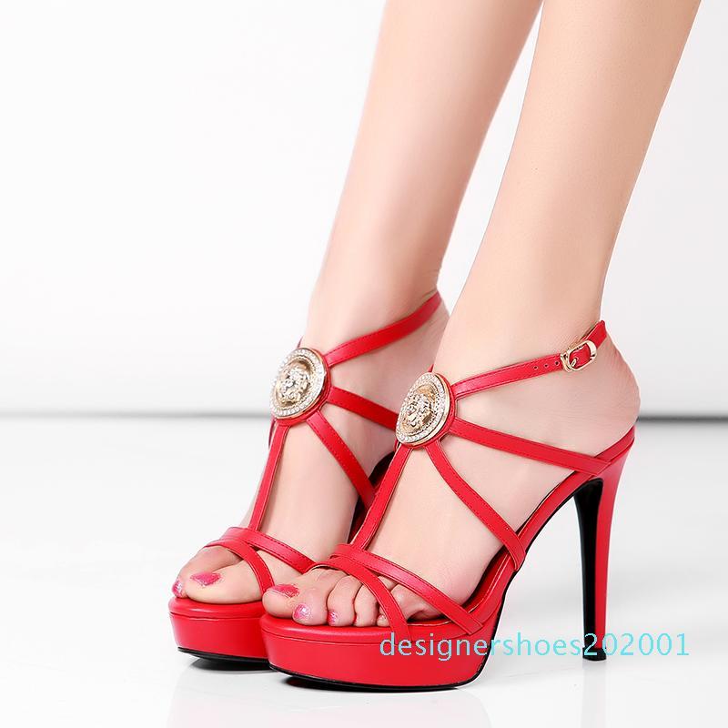 Sandales Designer en gros Véritable Sandales plateforme en cuir femmes Chaussures de luxe Fille Hauts talons 12cm Sandales femme Chaussures Escarpins Taille d01