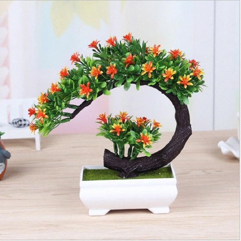 Новый творческий искусственный цветок бонсай Имитация пластика зеленый завод маленький горшок Искусственный цветочные растения декоративные мебель PVEV #