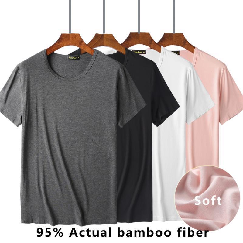 T-Shirt Viscose Unterhemd, schwarz Weiß-Rosa-Grau, kurze Ärmel Komfortabler Männer Traditioneller Rundhalsausschnitt Bambusfaser-Mann RF17B619