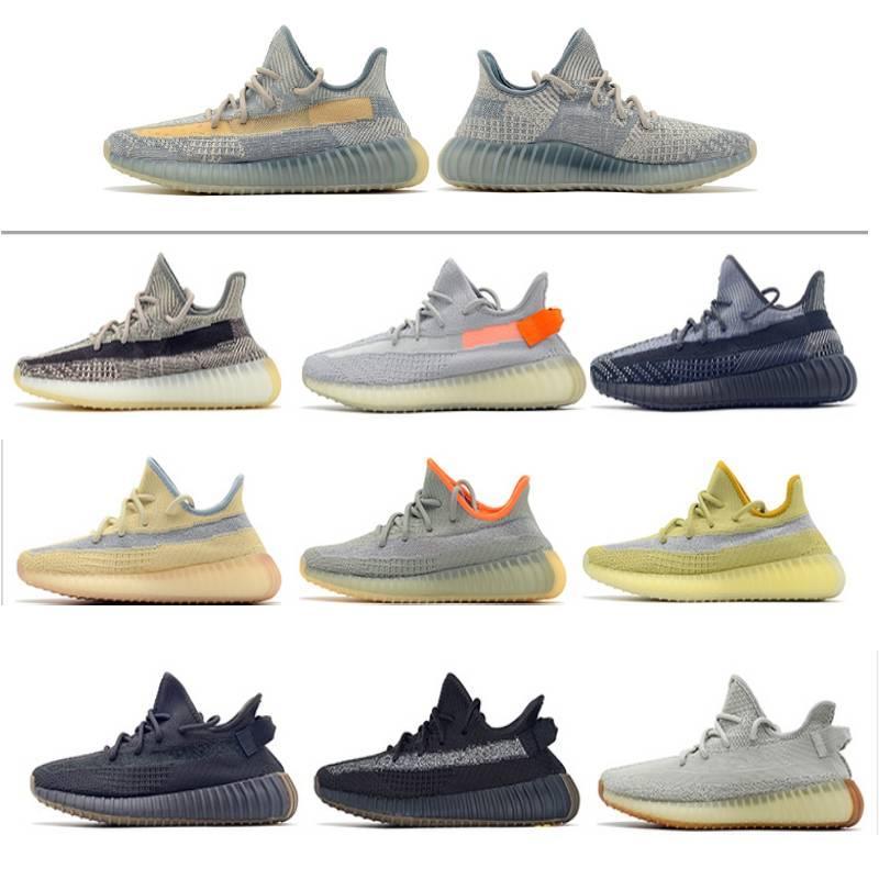 Top Basf oreo tamaño grande US13 Kanye West V2 Israfil Hombres zapatillas de deporte Asriel estático reflectante mujeres de los zapatos corrientes con la caja Calcetines Llaveros