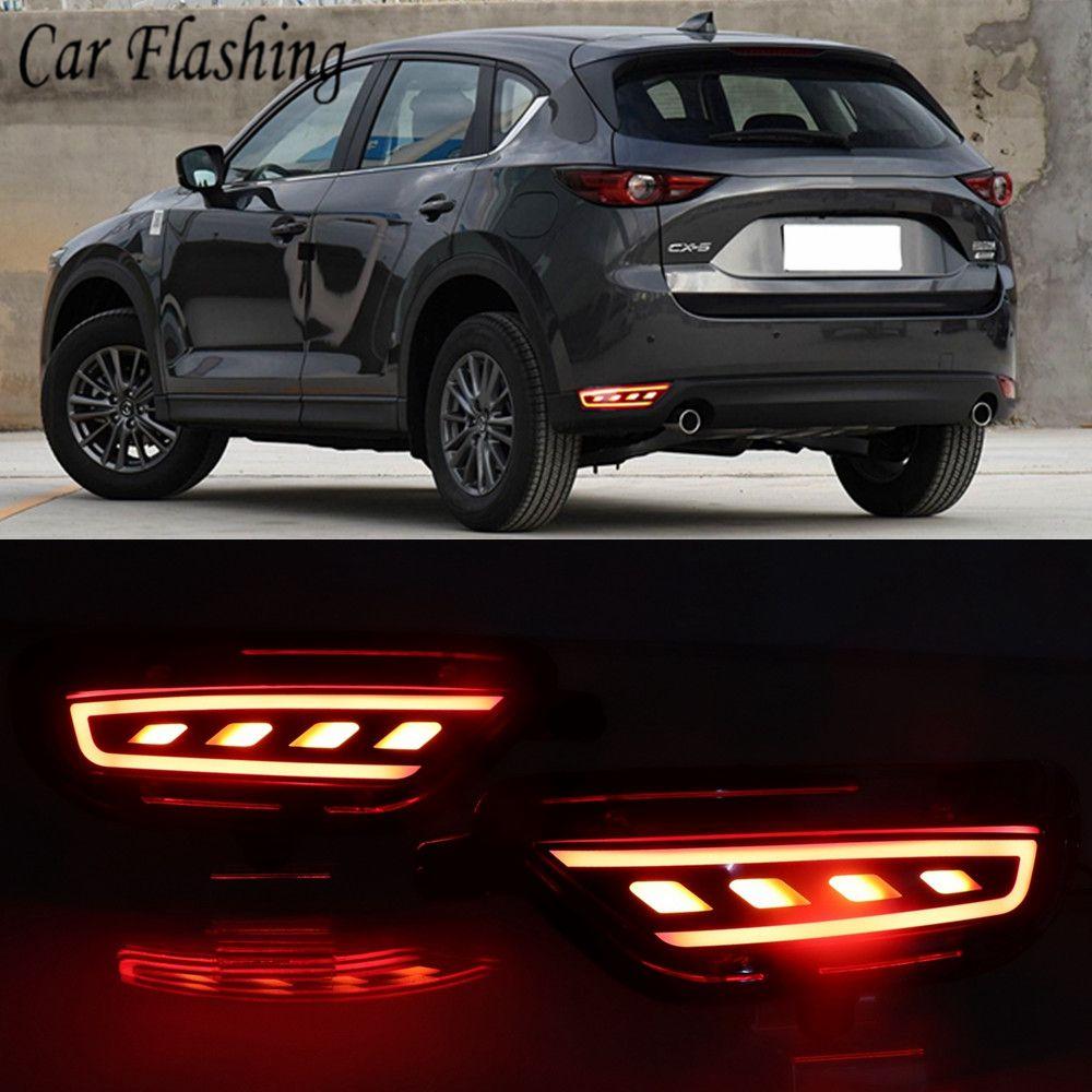 2 개 들어 마즈다 CX 5 CX5 2017 2018 2019 LED 리어 리플렉터 미등 안개 램프 범퍼 라이트 브레이크 돌려 신호