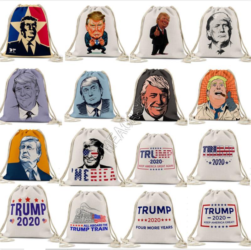 President Trump Drawstring Bag Fashion Cartoon Backpack Shoulder bags students Pocket Bag Pouch Storage Toiletry Bag Purses Boutique D81711