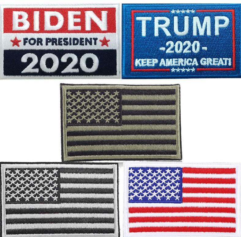 Vereinigte Staaten Flaggen Stickarm Aufkleber 2020 Trump US-Präsident Wahl Halten Sie Amerika Großer Rucksack Aufkleber DHL-freies Verschiffen BWD422