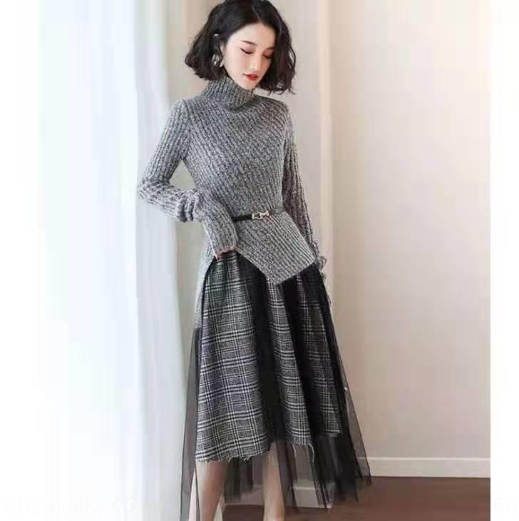Abnehmen Turtleneckstrickjacke Rock 2020 elegante Hoch kalt königliche Schwester reifen verdickt Herbst und Pullover dressDress dresswinter Gestrickte dre