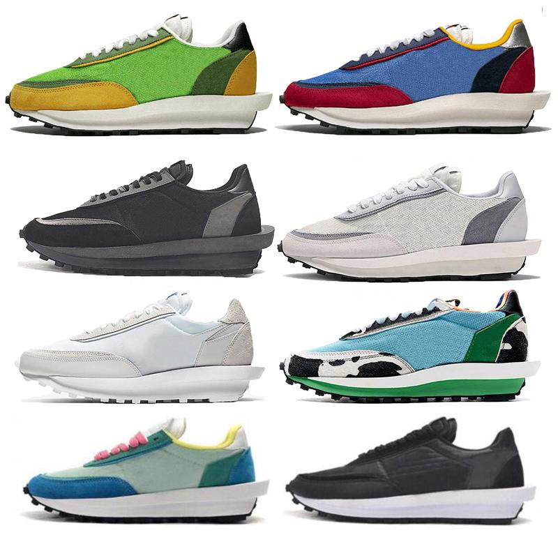 Das sapatilhas dos homens de nylon branco tênis LD Waffle xSacai Chunky Dunky formadores mulheres gusto verde pinho varsity verde bule de cúpula esportes