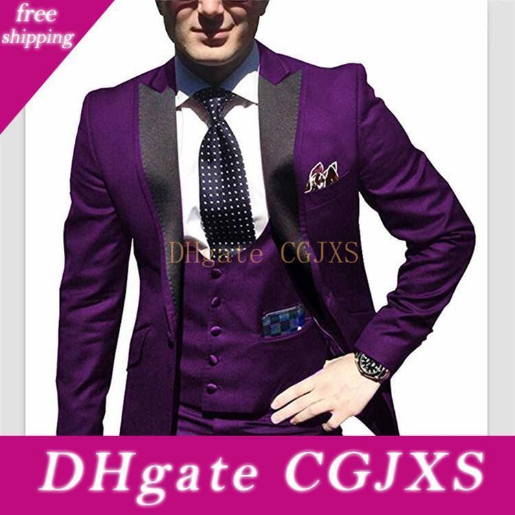 Alta qualità One Button Abiti da sposa Viola smoking dello sposo picco risvolto Groomsmen Mens Prom Blazer (giacca pantaloni legame maglia) W95