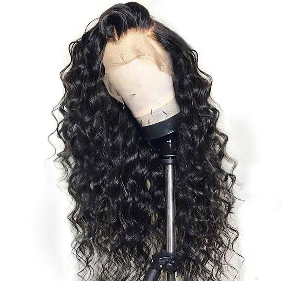 2020 pelucas de pelo humano rizado encaje completo Pre desplumados con el bebé sin cola de pelo de encaje completa pelucas para mujeres Negro de Brasil Remy Ha