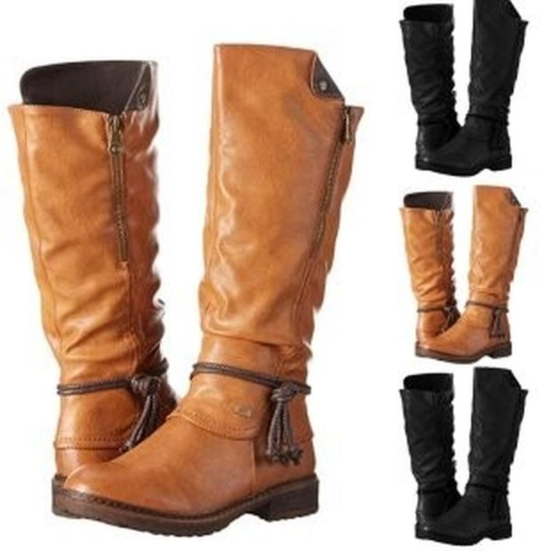 Kadın Kış Yüksek Boots Kadın Bayan Moda Çapraz Kravat Fermuar Uzun Çizme Patik Günlük Ayakkabılar Zapatos De Mujer Ayakkabı