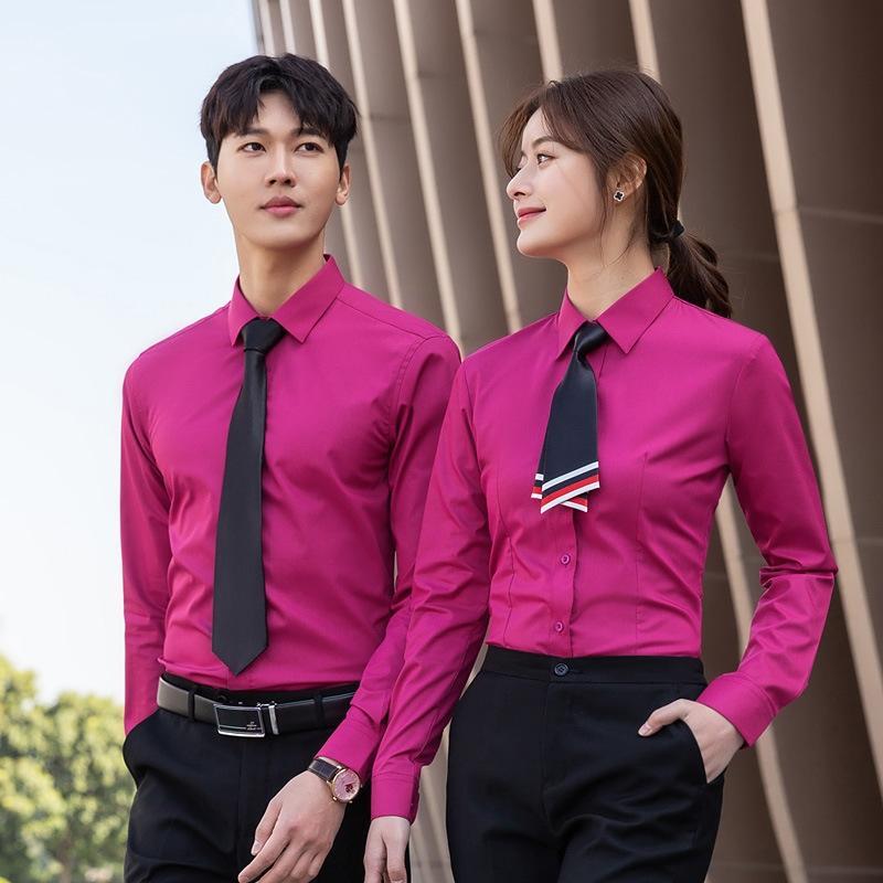 2020 primavera e l'estate la fibra di bambù nuova non-stiro maniche lunghe uomini della camicia di usura affari degli e camicia di affari delle donne M63IV
