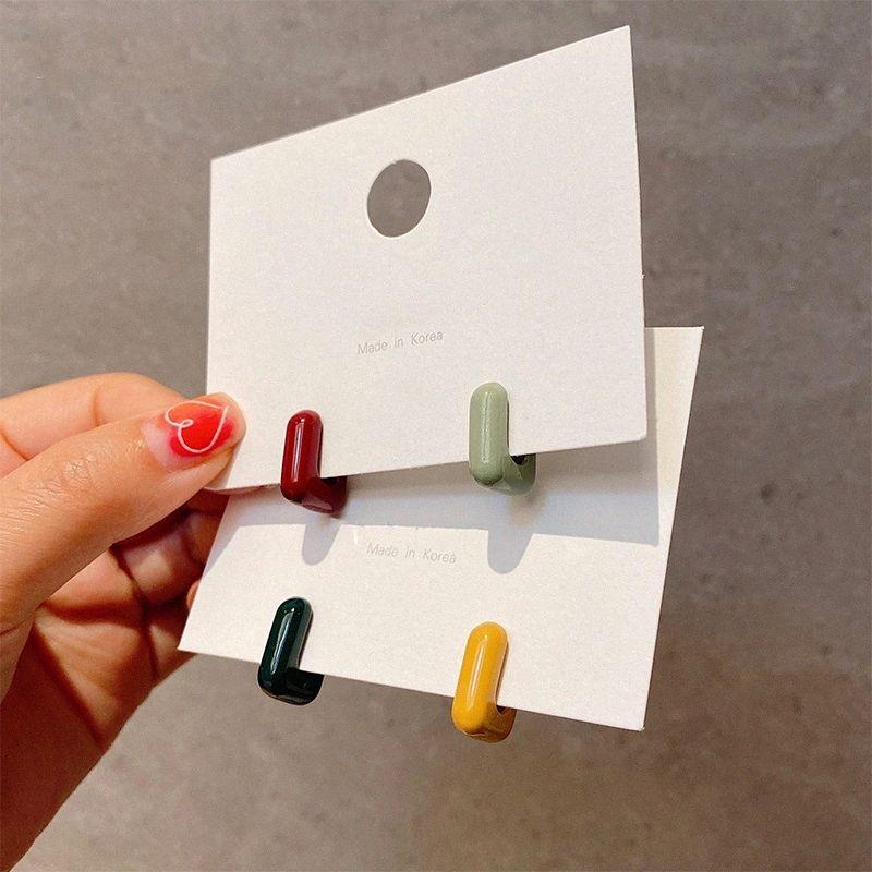 MENGJIQIAO NewCute caramelle colorate gioielli acrilica quadrata orecchini a cerchio per le donne Circle Brincos partito dell'orecchio dei monili accessori 1DOa #