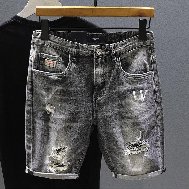 2020 Sommer dünnes Rauchgrau zerrissene Jeans-Shorts Männer neun Shorts knöchellangen Hose koreanische Neun dünne Bettler Hosen der Männer QxlgS QxlgS abgeschnitten