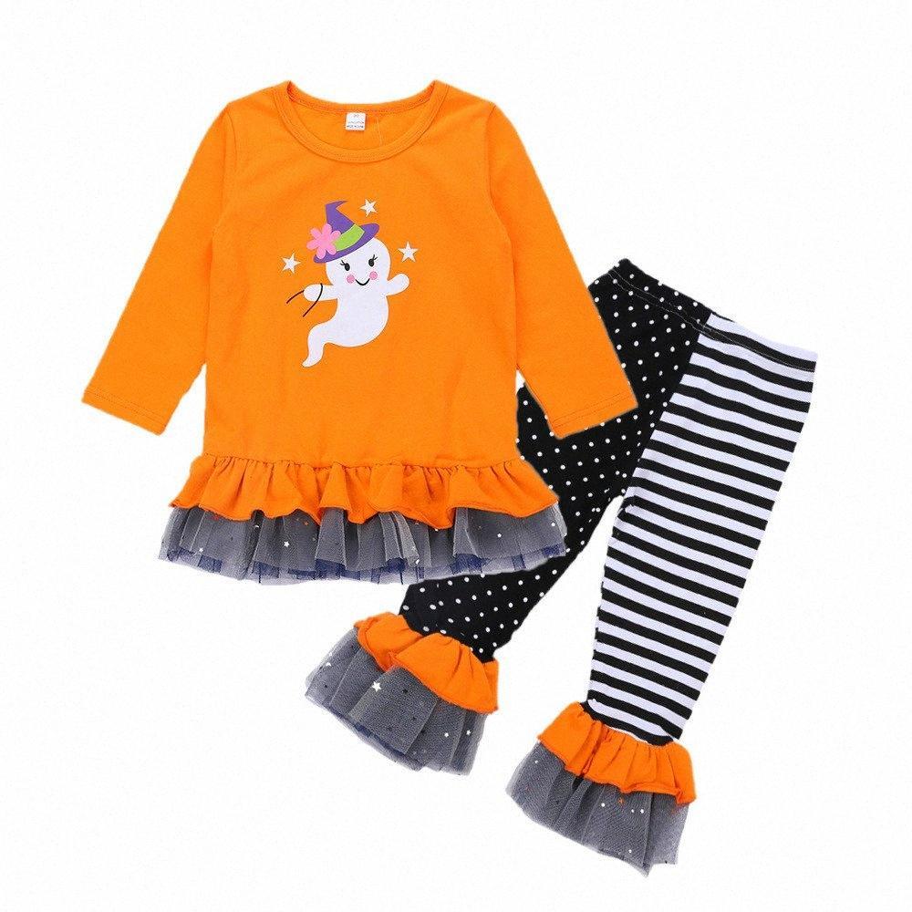 Yeni Moda Sonbahar Kız Giyim Seti Çocuk Uzun Kollu Hayalet Dantel tişört Çizgili Nokta Pantolon Kıyafet Moda Çocuk Giyim R2iq # ile