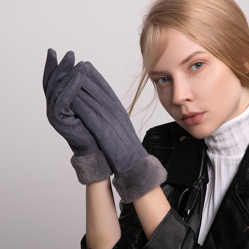Schermo touch donne inverno più velluto All'interno addensare Guanti antivento pelle scamosciata tessuto elegante femmina guanti peluche polso molli