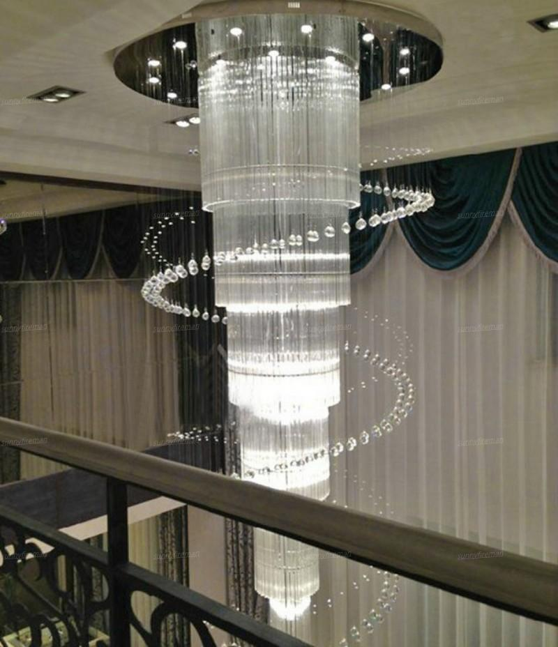 new large modern chandelier crystal lighting for Duplex and hotel lustres cristal LED stair light