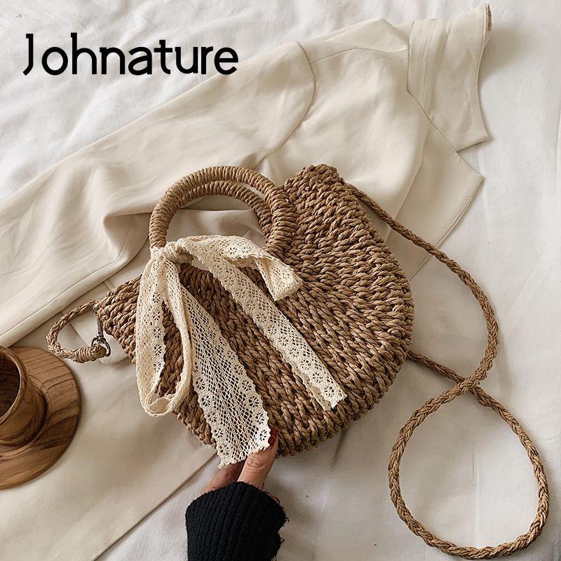 Johnature paja del verano para las mujeres bolsa de hombro de los bolsos 2020 Corea nueva señora de la manera del cordón de Ocio Holiday Beach Crossbody Bolsa