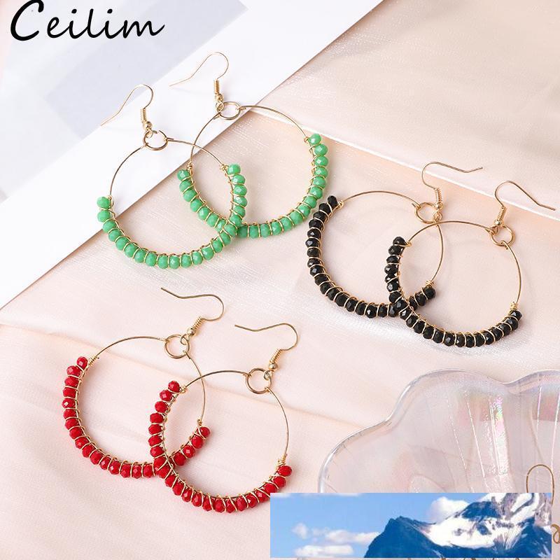 Hoop orecchini con perle di vetro colorato cerchio Orecchini semplice dell'orecchio grande cerchio di colore dell'oro Per la Corea del Sud le donne dei monili di stile
