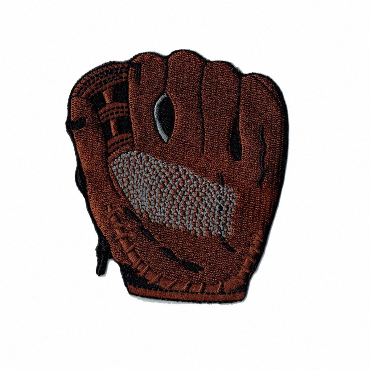 Custom and Unique Baseball Glove Embroidered Iron On Applique Patch for Sport Wear Applique Christmas Gift Brown 8.2cm ztYe#