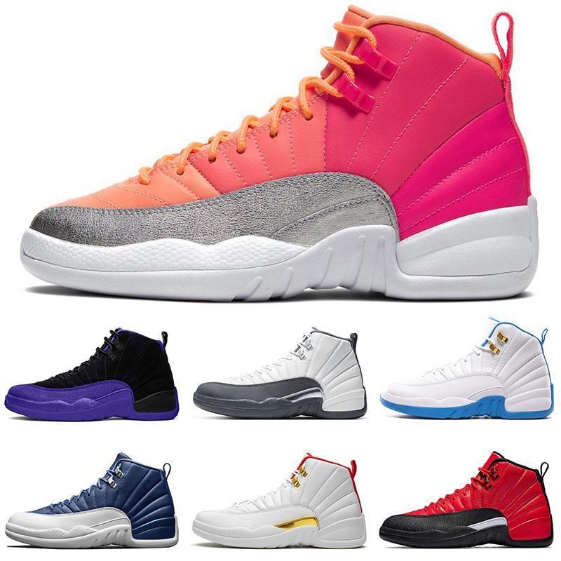 الرجال أحذية كرة السلة 12S jumpman جامعة الذهب الحجر الأزرق 12 الانفلونزا لعبة الملكي ماجستير رمادي داكن الرجال الرياضية رياضية أحذية رياضية حجم 7-13