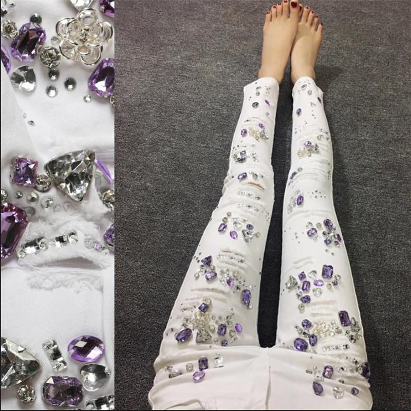 TAILLE 25-31 Luxe perlage Diamant Jeans Pantalon Femme Ripped stretch blanc Jeans Femme Trou Femme Denim mince Pantalons Crayon