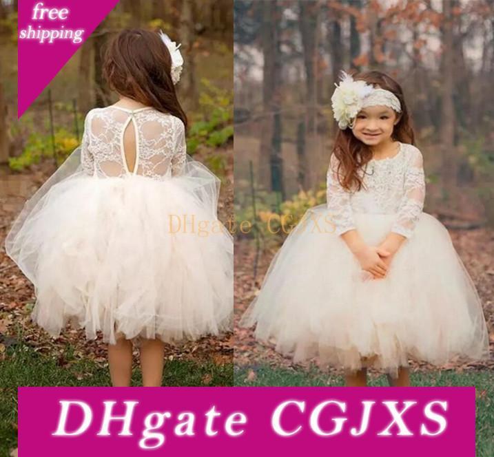 2018 Çay Boyu Düğünler Dantel Uzun Kollu Mücevher Boyun komünyon Elbise İçin Tül Çiçek Kız Elbise