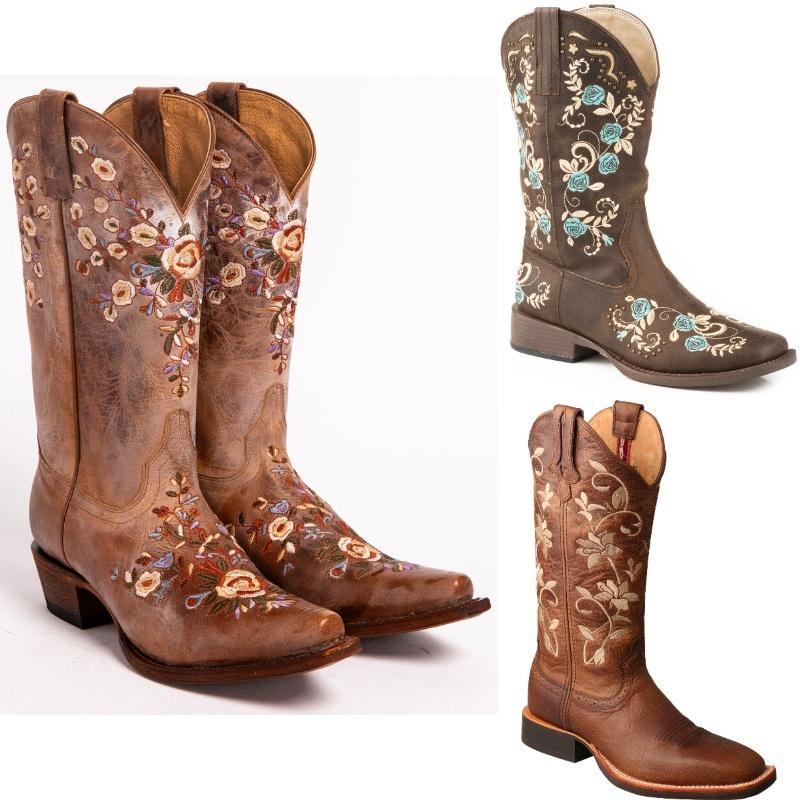 Женская мода Цветочные Вышитые Западная сапоги пастушка сапоги обувь колено высокие езда Кожа Винтажная езда