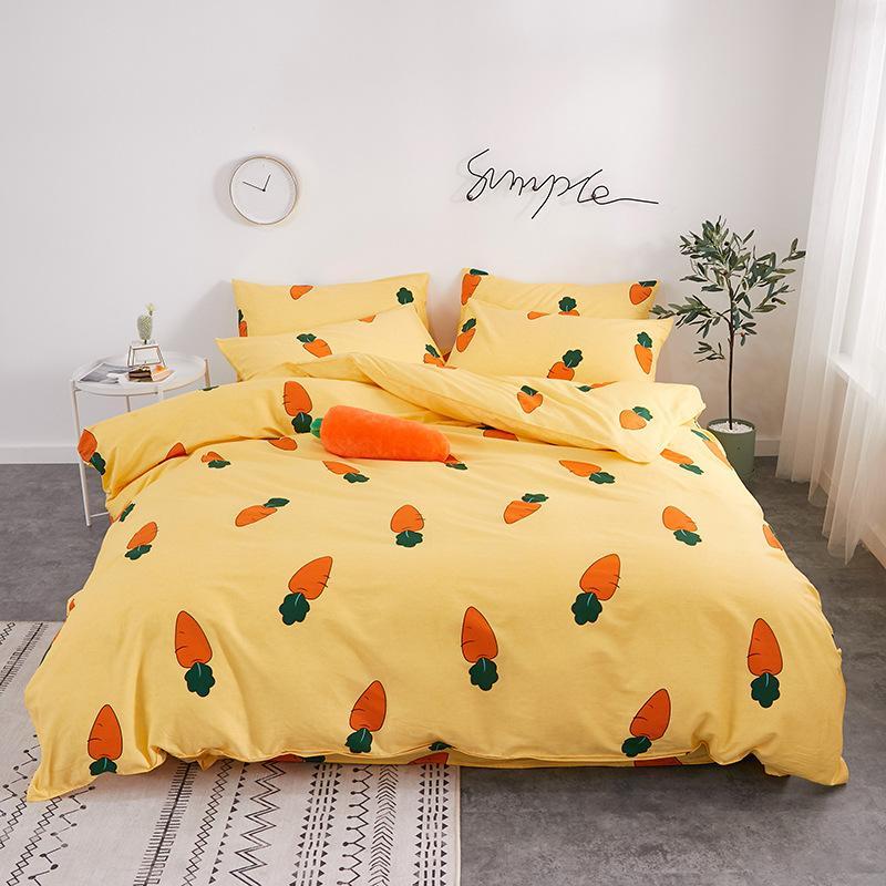 100% Cutton Cartoon The flamingo dinosaur fruit Series Super Breathe Skin Friendly Queen King Size Luxury Comforters Bedding Sets AMS29034