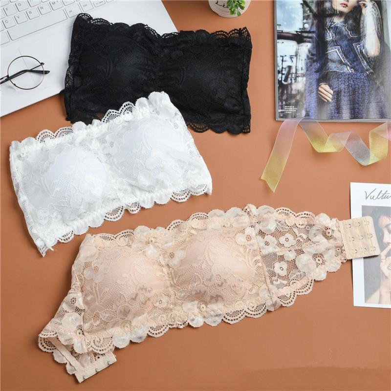 Strapless Bra acolchoado Bralette Roupa interior do Bra Sexy Mulheres Floral Lace Cropped Mulheres Lingerie