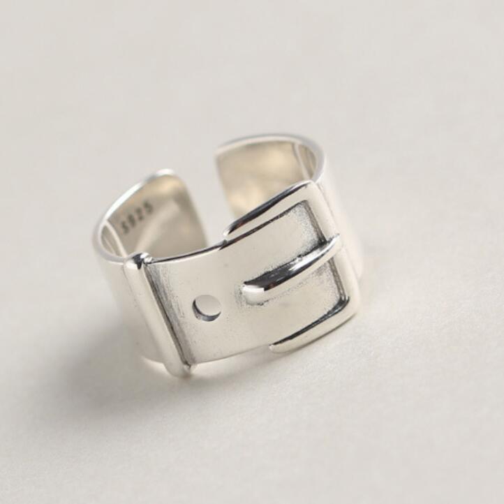 gioielli S925 anelli in argento sterling cintura di fissaggio geometria grande smalto anelli per le donne di modo caldo