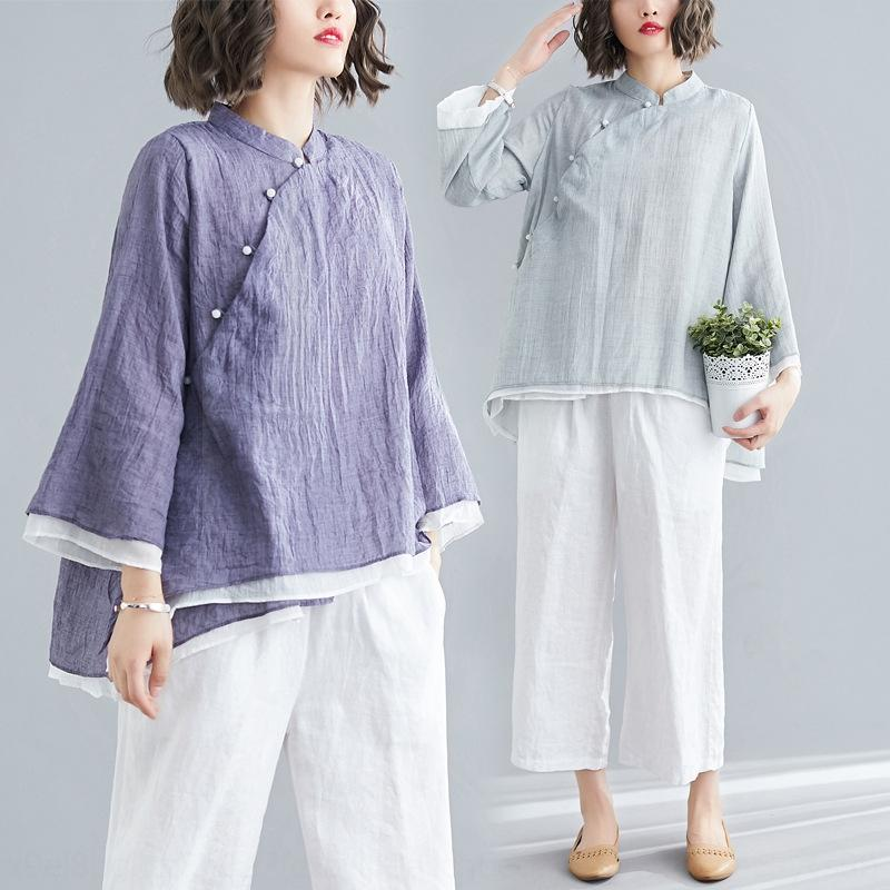 2019 autumn new large size women's clothing Korean style top and cotton linen artistic solid colorcotton and linen top IF9290 o6W4B