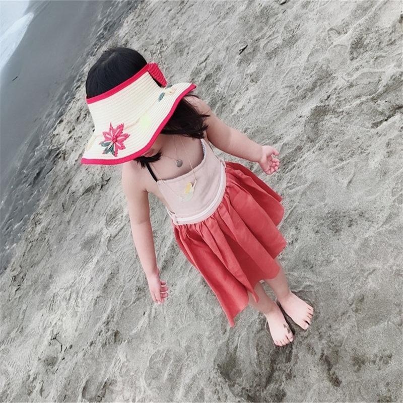 Nuevo estilo coreano paja y la hierba Flores hechas a mano bordado sombrero para el sol sombrero vacío-top de paja de los niños del sol del bebé