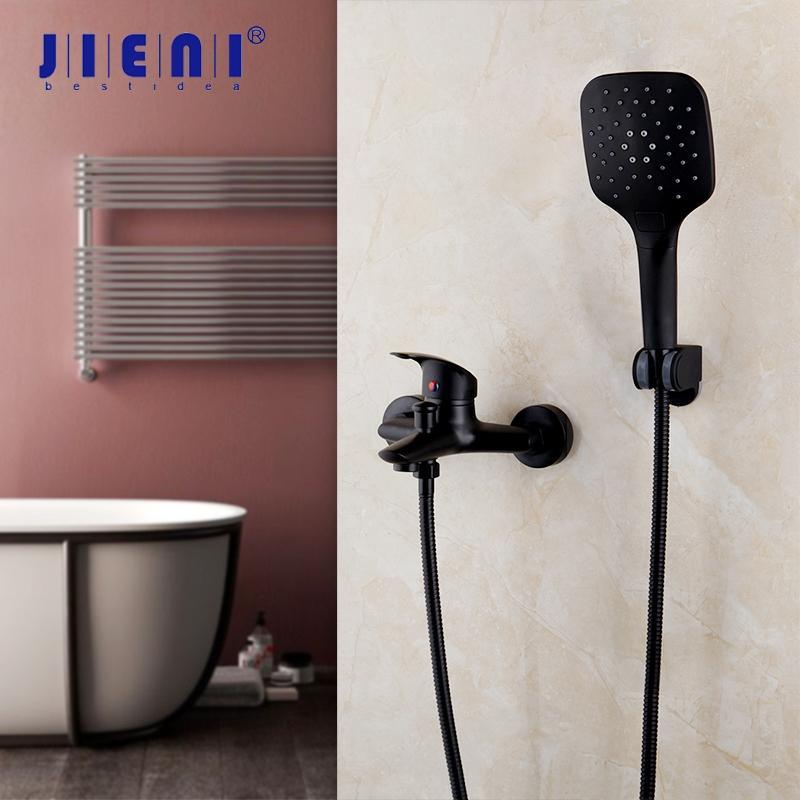 Jieni Preto Banheira torneira do chuveiro Sólidos Latão bacia banheiro banho Torneiras Mixer Tap Com Mão design simples