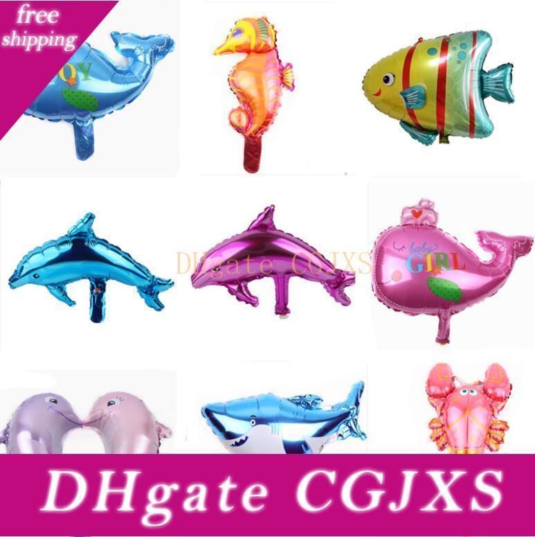 New Fashion Lovely Marine Animals Aluminium Coating Balloons Kids Toys Happy Birthday Party Gifts Decorations Free Shipping