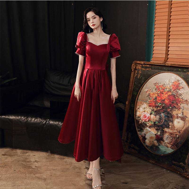 Parti ince kokteyl elbiseleri 2020 yeni stil için basit Burgonya geri V boyun saten şair kollu uzun resmi kıyafet bayan seksi