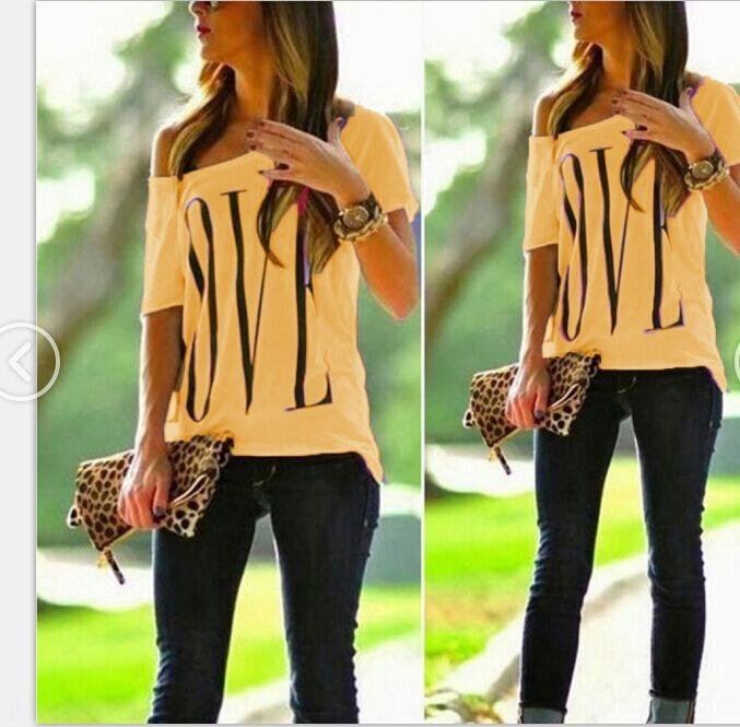 mujeres amor ocasional cuello de EtEgw j3oiY mujeres de verano ronda corta impreso camiseta de manga camiseta de la letra camiseta superior de la capa
