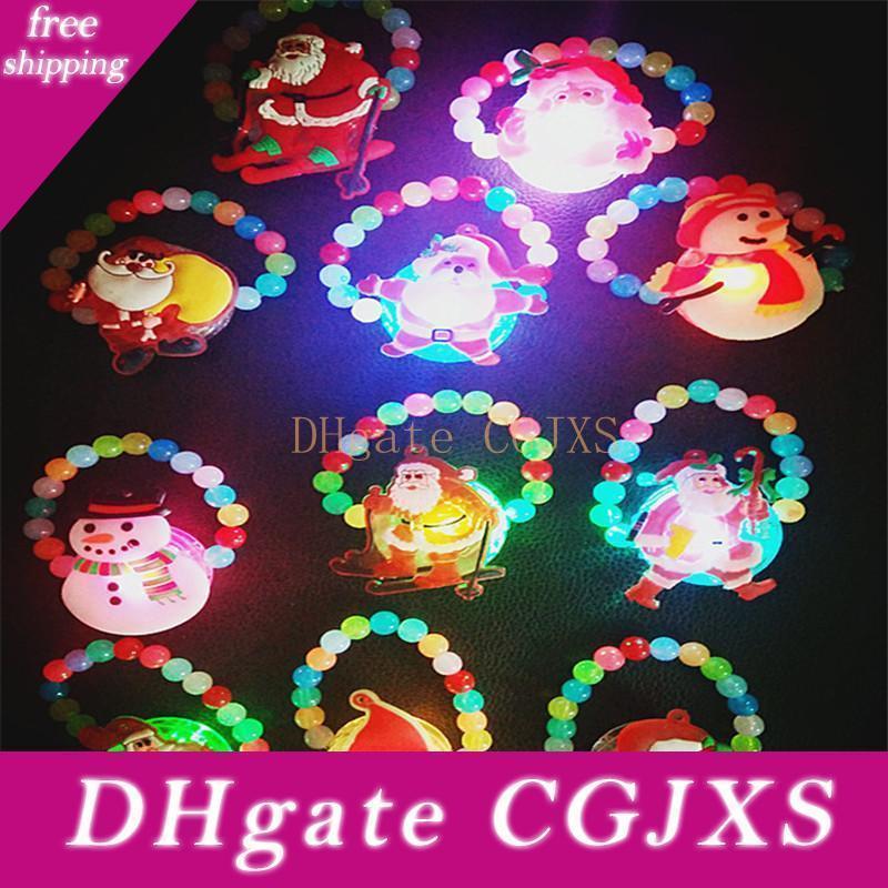 Glowing -Fino Bracciale Perle Wristband lampeggiante braccialetto ha condotto la luce bambini gioca il regalo Glow per feste di Natale Capodanno H283