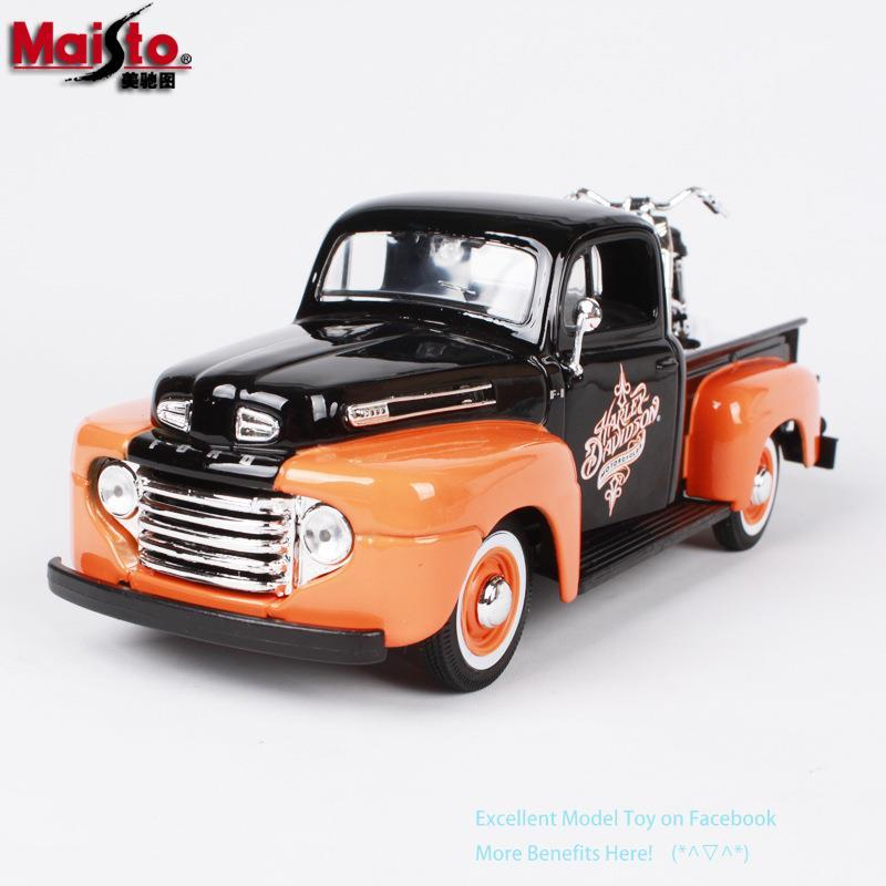 Maisto Diecast Alloy Ford 1948 F1 Pickup Car Model Toy, with 1958 FLH DUO GLIDE Retro Harley Motorcycle, 1:24 Ornament, Kid Gift, 32161, 2-1