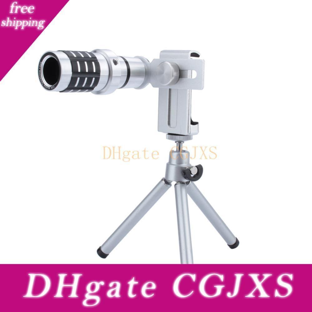 Télescope lentille 12x Zoom téléobjectif Téléphone optique Camera Lens Telescope Monture Trépied Pour Iphone Samsung Tous les téléphones Moq: 10pcs