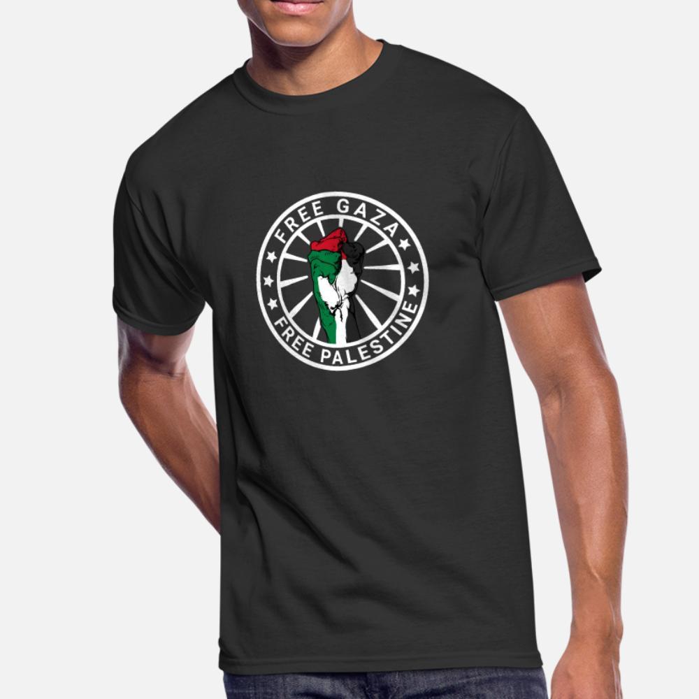 Free Gaza Freies Palästina palästinensischen Gaza-Streifen T-Shirt Männer-Druck 100% Baumwolle Rundhals Normallack lose Art und Weise Frühlings-Herbst Einzigartige