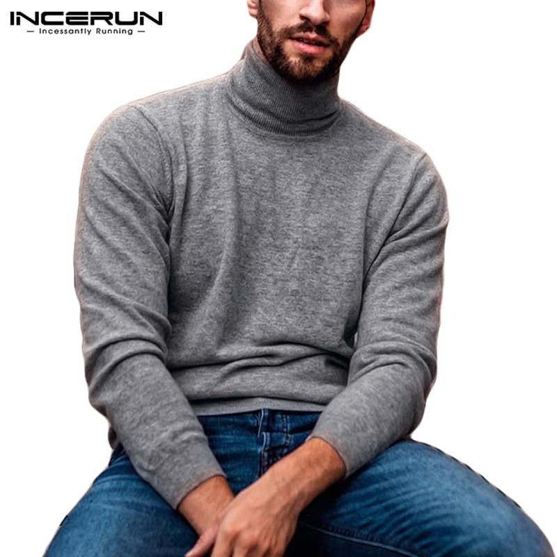 INCERUN Hommes Pull à col roulé à manches longues solide 2020 Casual Pull mince Tricoté Mode Fitness Hommes Pulls Streetwear S-5XL