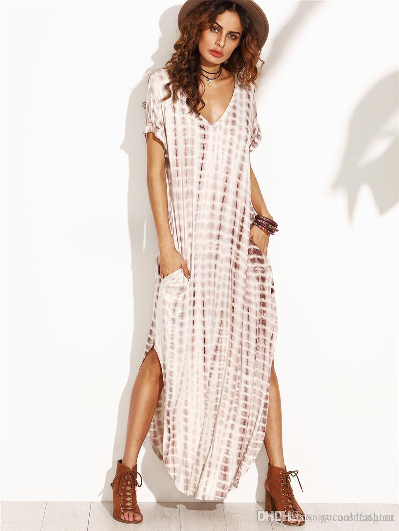 Bayanlar Elbiseler Casual Kadın Gevşek Kasetli Giyim Yaz Dijital Baskılı Kadınlar Elbise Moda Tasarımcısı V Yaka