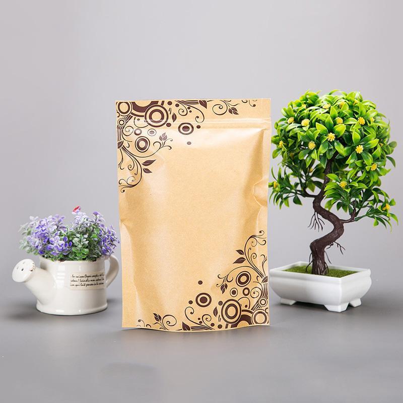 Stand up Brown alluminio foglio di carta kraft Zip sacchetto a chiusura con la stampa, mestiere richiudibile alluminatura sacchetti cerniera