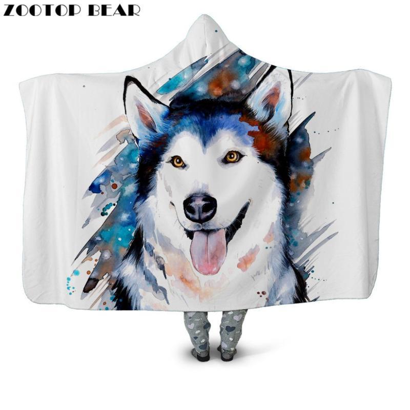 Собака Аниме Hooded Одеяло животных 3D печататься Quilts Мода Пара Белый носимого Марка плаща для взрослых Постельные принадлежности Мягкие Одеялки