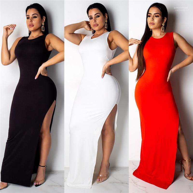 Backless Elbise Katı Renk Tek Düğme Kolsuz Giyim Mürettebat Boyun Hi Lo Gündelik Giyim Kadın Yaz