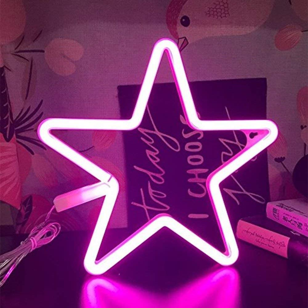 Estrela de néon Noite Sinais decorativa LED Light Decor Wall Art para quarto Halloween Party aniversário Alimentada por Baterias / USB